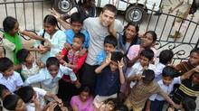 Rocky Braat and some of the Indian children he befriended.