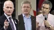 Left to right, Jack Layton, Stephen Harper, Michael Ignatieff