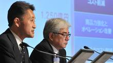 Executive Deputy President and Representative Corporate Executive Officer of Sony Corporation, Kazuo Hirai (L) answers questions during a press conference to announce the company's financial results in Tokyo on November 2, 2011. Japanese electronics giant Sony on November 2 said it now expected a heavy full-year loss of $1.15 billion as it reels from the impact of a strong yen, weak TV sales and severe flooding in Thailand. (KAZUHIRO NOGI/AFP/Getty Images/KAZUHIRO NOGI/AFP/Getty Images)