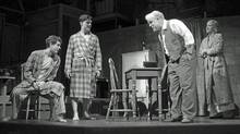 "Andrew Garfield, Finn Wittrock, Philip Seymour Hoffman and Linda Emond in Mike Nichols' ""Death of a Salesman."" (Handout)"