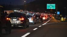 Bumper to bumper rush hour traffic on the Don Valley Parkway approaching the Don Mills Rd. exit is pictured on Nov. 24, 2016. (Fred Lum/The Globe and Mail)