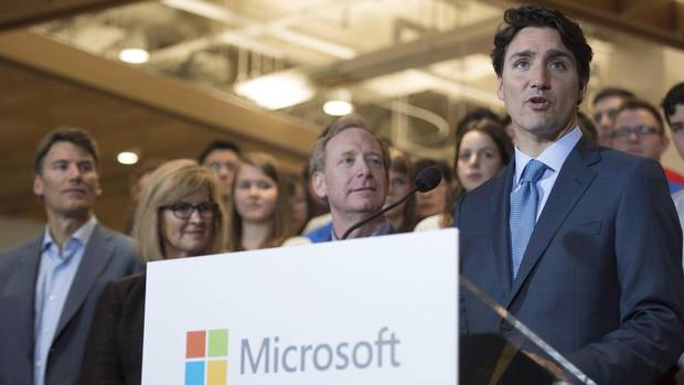 Prime Minister Justin Trudeau addresses a gathering during the opening of Microsoft's new location in Vancouver on June 17, 2016. (Jonathan Hayward/THE CANADIAN PRESS)
