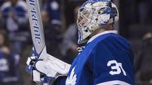Toronto Maple Leafs goalie Frederik Andersen celebrates in his crease after his team's 4-2 win over the Philadelphia Flyers following NHL hockey action, in Toronto on Thursday, March 9, 2017. (Chris Young/The Canadian Press)