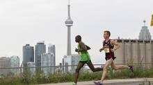 Running along the Toronto waterfront