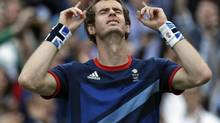 Andy Murray of Great Britain celebrates after defeating Novak Djokovic of Serbia at the All England Lawn Tennis Club at Wimbledon, in London, at the 2012 Summer Olympics, Friday, Aug. 3, 2012. Murray defeated Roger Federer on Sunday for the gold medal. (Mark Humphrey/AP)