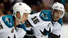 Dany Heatley of the San Jose Sharks looks on against the Anaheim Ducks during the preseason game at the Honda Center on September 21, 2009 in Anaheim, California. (Jeff Gross/2009 Getty Images)