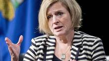 Alberta Premier Rachel Notley speaks during an onstage interview, in Calgary, on October 9, 2015. (Larry MacDougal/THE CANADIAN PRESS)