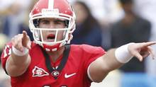 Georgia Bulldogs quarterback Aaron Murray (11) yells at the line against the Georgia Tech Yellow Jackets during the first half of the game at Bobby Dodd Stadium. Josh D. Weiss-US PRESSWIRE (Josh D. Weiss/US PRESSWIRE)