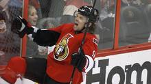 Ottawa Senators' Milan Michalek celebrates after scoring a goal against the New York Rangers during second period of Game 4 of the NHL Eastern Conference quarterfinal playoff hockey game in Ottawa April 18, 2012. (BLAIR GABLE/REUTERS)