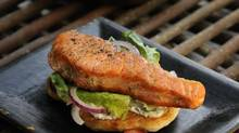 Salmon burger and bannock recipe. (Fred Lum/The Globe and Mail)