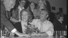 Ed McKitka with his wife following his election as mayor in Nov. 1975. Credit: Surrey Leader fonds, City of Surrey Archives
