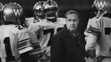 Winnipeg Blue Bombers coach Cal Murphy talks to players at practice in Vancouver, Nov.17, 1983. (Dave Buston/CP/Dave Buston/CP)