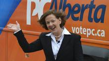 Alberta Premier Alison Redford waves to the crowd during a campaign stop in Calgary, Alberta April 4, 2012.) (Todd Korol/ Reuters/Todd Korol/ Reuters)