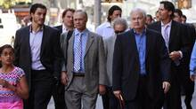 The NHL Players' Association (NHLPA) Union head Donald Fehr (2nd R) arrives with players for meetings at the NHL offices in New York August 29, 2012. (BRENDAN MCDERMID/REUTERS)