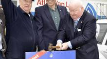 Senator Mike Duffy, right, was in New Minas, Nova Scotia, April 20, 2011, campaigning with Kings-Hants Conservative candidate David Morse, centre. Also pictured is campaign volunteer Bernie Kleinpaste, left. (Kings County Advertiser, www.kingscountynews.ca)