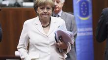 Germany's Chancellor Angela Merkel arrives to attend an European Union leaders summit in Brussels June 29, 2012. (FRANCOIS LENOIR/REUTERS)