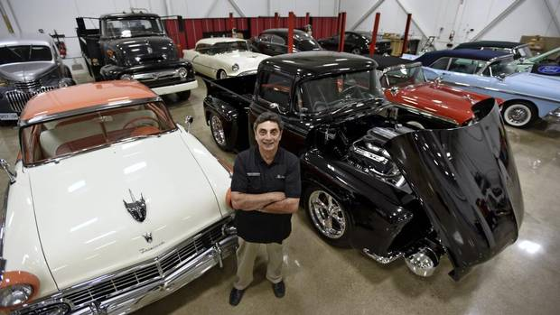 Classic automobile collector Ron Caicco in his 'man cave,' located in a suburban Toronto warehouse. Caicco reconstructed a 1956 Ford F100 pickup truck (Fred Lum/The Globe and Mail)