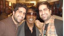 Twin brothers Page, left, and Jian Magen, co-owners of Magen Boys Entertainment, with singer James Brown (MAGEN BOYS ENTERTAINMENT)