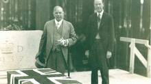 Prime Minister William Lyon MacKenzie King and Governor Graham Towers lay the cornerstone of the Bank of Canada building, in Ottawa, 1937. (Can Gov Motion Picture Bureau/Can Gov Motion Picture Bureau)