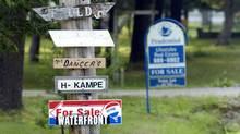 Real Estate for-sale signs in Muskoka, Ont. (Fred Lum/The Globe and Mail)