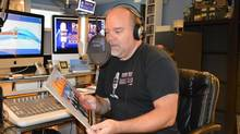 """Mr. Miller recording a segment of The Vinyl Vault on Summer, featuring The Kink's hit """"Sunny Afternoon"""" - a RODE NT2A microphone into an Aphex 230 Master Voice Channel processor, then into a digital mixing board and finally recorded into Garageband on a Mac computer (Jordana Divon)"""