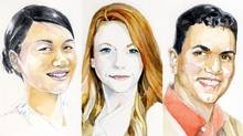 A combination of portraits of The Globe's panel of Canadian expats living in the U.S. From left to right: Jenny Zhang, Chloe Wolman and Jason Sidhu. (Tonia Cowan)