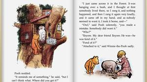 A screen capture of the Winnie the Pooh e-book that comes free with the as-yet-unavailable-in-Canada iBooks app.