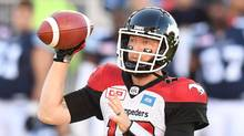 Calgary Stampeders' quarterback Bo Levi Mitchell fires a pass against the Toronto Argonauts during first half CFL action in Toronto, Monday, October 10, 2016. (Frank Gunn/THE CANADIAN PRESS)