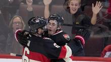 Ottawa Senators right wing Bobby Ryan(left) congratulates teammate Kyle Turris on his goal during third period NHL action against the Montreal Canadiens in Ottawa on Thursday, November 7, 2013. The Senators defeated the Canadiens 4-1. (ADRIAN WYLD/THE CANADIAN PRESS)