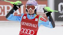 Tina Maze of Slovenia celebrates (ROBERT PRATTA/REUTERS)