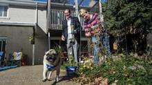 Phil Goodwin, left, and his wife Charleen fill the bird feeder and prune vines as their dog Pedro plays in the backyard of their Toronto home on Wednesday, November 4, 2015. (Darren Calabrese For The Globe and Mail)