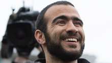 Omar Khadr speaks to the media after he was granted bail in Edmonton, Alberta on Thursday, May 7, 2015. (Amber Bracken/The Globe and Mail)