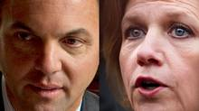 Ontario PC Leader Tim Hudak (L) and Ontario NDP Leader Andrea Horwath are pictured in this undated file photo. (THE GLOBE AND MAIL and CANADIAN PRESS)
