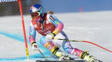 USA's Lindsey Vonn races during the first training run of the Women's World Cup downhill in Lake Louise, Alta., Wednesday, Dec.4, 2013. (Jonathan Hayward/THE CANADIAN PRESS)
