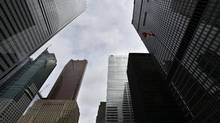 Looking up from the southwest corner of King Street West and Bay Street on March 30, 2015. (Fred Lum/The Globe and Mail)