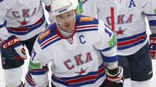 SKA St. Petersburg's Ilya Kovalchuk skates with teammates during their Kontinental Hockey League (KHL) game against Dynamo in Moscow September 23, 2012. (Reuters)