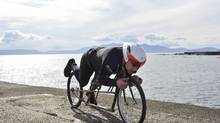 Graeme Obree is shown in position on the HPV Record Attempt bike. (Rick Robson)