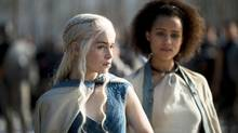 Emilia Clarke, Nathalie Emmanuel in season four of Game of Thrones. (Macall B. Polay/HBO)