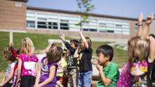 Grade 1 students at Hillcrest Public School in Barrie, Ont., take part in an outdoor classroom. Simcoe County District School Board, north of Toronto, will build outdoor classrooms in all 85 of its elementary schools. (Chris Young for The Globe and Mail)