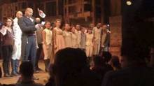 "In this image made from a video provided by Hamilton LLC, actor Brandon Victor Dixon, who plays Aaron Burr, the nation's third vice president in the play Hamilton, speaks from the stage after the curtain call in New York, Friday, Nov. 18, 2016. Vice President-elect Mike Pence is the latest celebrity to attend the Broadway hit ""Hamilton, but the first to get a sharp message from a cast member from the stage. (Hamilton LLC via AP)"