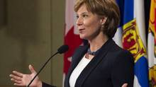 British Columbia Premier Christy Clark talks with media following the morning meetings at the annual meeting of the Council of the Federation in Vancouver, British Columbia on July 21, 2011. (Andy Clark/Reuters/Andy Clark/Reuters)