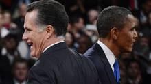 Republican presidential nominee Mitt Romney and U.S. President Barack Obama at end of the final U.S. presidential debate in Boca Raton, Florida October 22, 2012. (Michael Reynolds/Reuters)