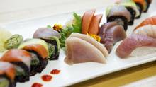 An order with rainbow rolls with organic purple sushi rice, nigiri made with yellow fin tuna, albacore toro and spring salmon, and sashimi with yellow fin tuna, sockeye salmon and albacore sashimi, is pictured at Just Sushi in Etobicoke, Toronto, on Thursday, April 10, 2014. (Matthew Sherwood for The Globe and Mail)