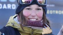 Canada's Spencer O'Brien poses with her gold medal after the women's Snowboard Slopestyle Finals at the FIS Snowboard World Championships in Stoneham, Quebec, January 18, 2013. O'Brien won the competition. (MATHIEU BELANGER/REUTERS)