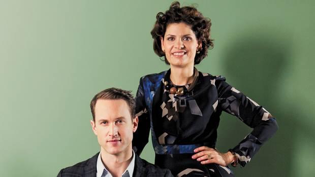 <p>Anna Abbruzzo, right, and Alain Courchesne of Igloodgn</p>