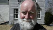 Novelist Nicholson Baker poses outside his home in Berwick, Maine, on Monday, April 7, 2008. (Pat Wellenbach/AP)