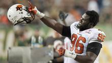 B.C . Lions tackle Khalif Mitchell tweeted a racial slur to describe Chinese people. (John Ulan/THE CANADIAN PRESS)