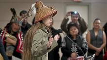 Ta' Kaiya Blaney, 10, speaks Thursday during a signing ceremony with other first nations members in Vancouver after an announcement on the proposed Enbridge Northern Gateway pipeline. (JOHN LEHMANN/THE GLOBE AND MAIL/JOHN LEHMANN/THE GLOBE AND MAIL)