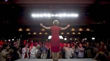 Premier Kathleen Wynne acknowledges supporters at the Liberals' election night headquarters in Toronto Thursday. Liberal voters came out in larger numbers than they did in the last election. (Darren Calabrese/THE CANADIAN PRESS)