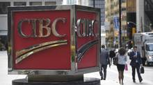 The large CIBC sign outside the bank's office building at the south east corner of King St. West and Bay St. on Oct 13 2015. (Fred Lum/The Globe and Mail)